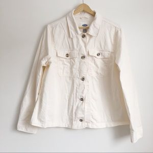 Old Navy Woman's Cream Cotton Chore Jacket | Large